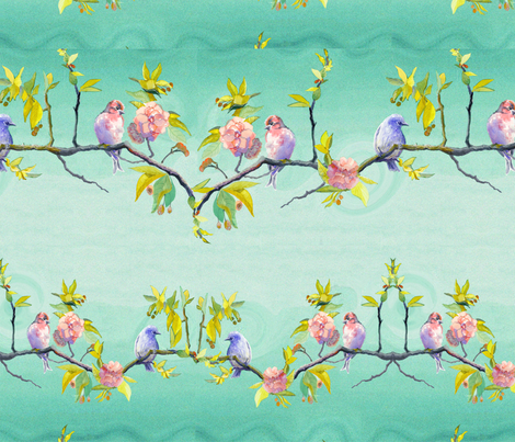 Cherry Blossom Bird Arcadia  fabric by nannette_cloete on Spoonflower - custom fabric
