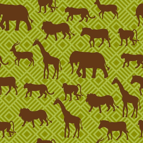 Wilds of Africa Animals Yellow Green