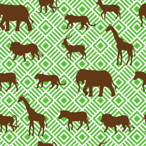 Wilds of Africa Animals White Green