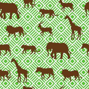 Wilds of Africa Animals White Green