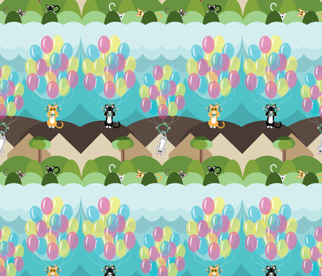 Animals by Air Flying Kitties, Succulent wreath, Cats, Balloons, Kittens  fabric by applebutterpattycake on Spoonflower - custom fabric