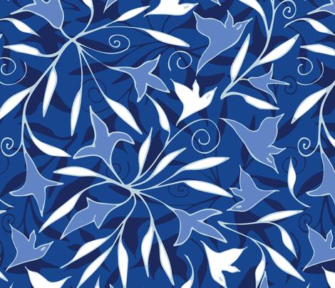 blue birds fabric by dragonli on Spoonflower - custom fabric
