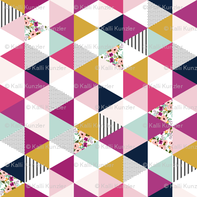 Floral Triangles Wholecloth Rotated