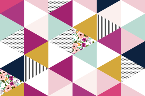 Floral Triangles Wholecloth Rotated fabric by sweeterthanhoney on Spoonflower - custom fabric