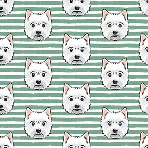 Westie - West Highland White Terrier - dogs on green stripes