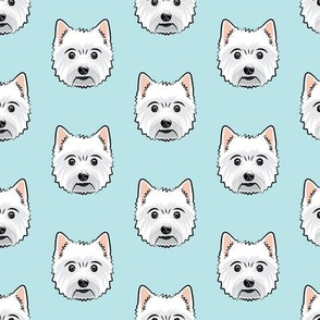 Westie - West Highland White Terrier - dogs on blue