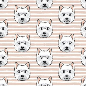 Westie - West Highland White Terrier - dogs on blush stripes