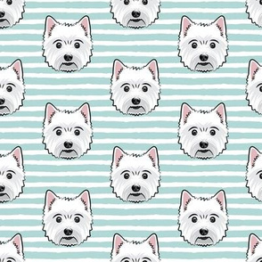 Westie - West Highland White Terrier - dogs on aqua stripes