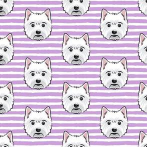 Westie - West Highland White Terrier - dogs on purple stripes