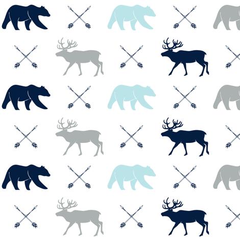 elk, bear, and arrows - navy, blue, grey fabric by littlearrowdesign on Spoonflower - custom fabric