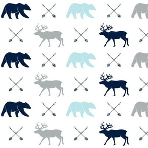 elk, bear, and arrows - navy, blue, grey