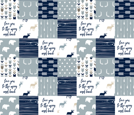 little adventurer blue - love you to the moon and back C18BS fabric by littlearrowdesign on Spoonflower - custom fabric
