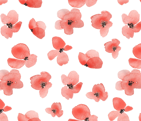 Red watercolor flowers (Large) fabric by gribanessa on Spoonflower - custom fabric