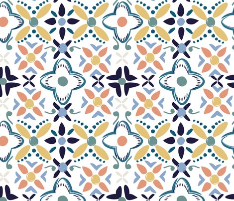 Marrakesh Blue Neutrals fabric by aliwilkinsondesigns on Spoonflower - custom fabric