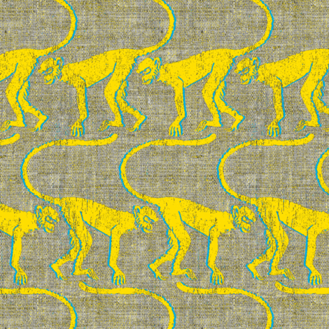 monkey see yellow fabric by susiprint on Spoonflower - custom fabric