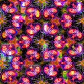 BOHO STARS FLOWERS 1 FUCHSIA ORANGE GEOMETRY