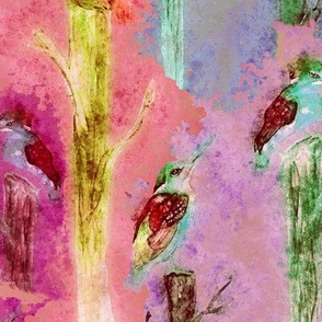 watercolor kingfisher birds tweet talk coral fruity