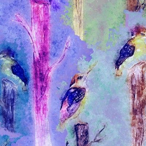 watercolor kingfisher birds tweet talk purple violet