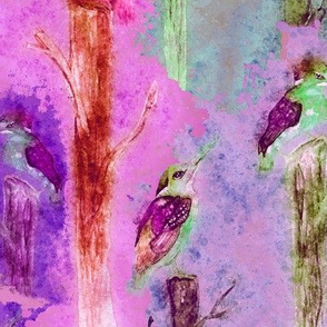 watercolor kingfisher birds tweet talk pink fuchsia