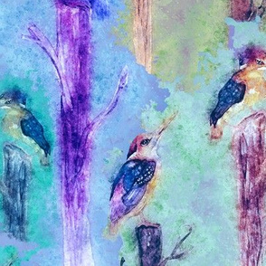 watercolor kingfisher birds tweet talk lavender blue