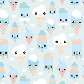 Colorful sweet summer ice cream popsicle sugar pastel kawaii illustration boys