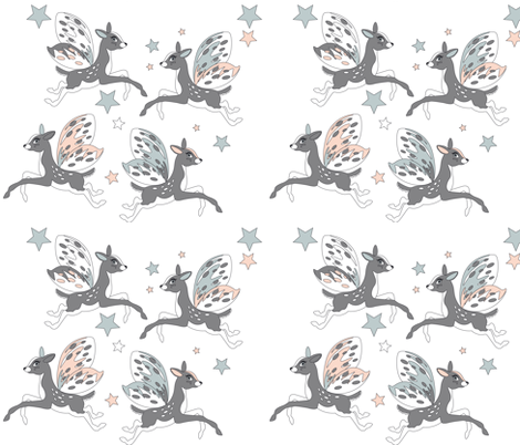 Flying deers white fabric by olganikich on Spoonflower - custom fabric