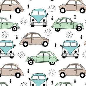 Cool on the road vintage cars collection with geometric details for fashion and nursery boys mint blue Medium
