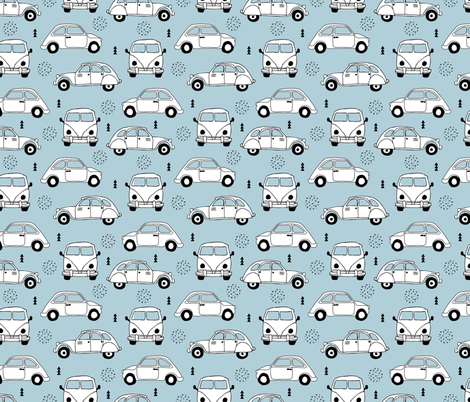 Cool on the road vintage cars collection with geometric details for fashion and nursery boys blue Medium fabric by littlesmilemakers on Spoonflower - custom fabric