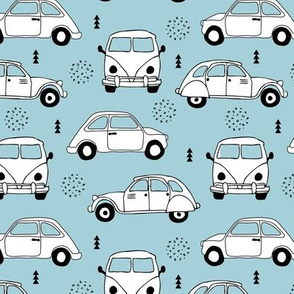 Cool on the road vintage cars collection with geometric details for fashion and nursery boys blue Medium