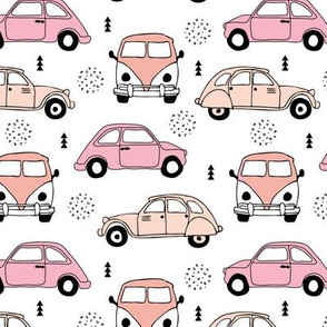 Cool on the road vintage cars collection with geometric details for fashion and nursery girls peach pink Medium