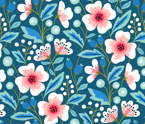 Jumbo Colorful spring flowers pink on blue fabric by heleen_vd_thillart on Spoonflower - custom fabric