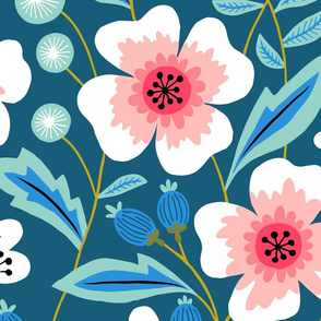 Jumbo Colorful spring flowers pink on blue