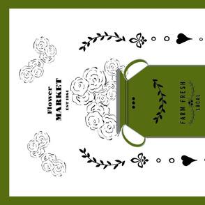 tea towel flower market jug- bay leaf green