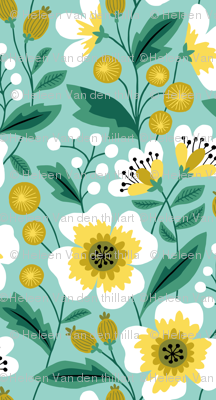Jumbo colorful spring flowers yellow on mint