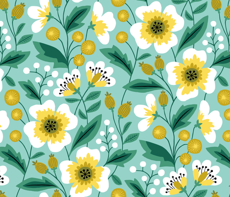 Jumbo colorful spring flowers yellow on mint fabric by heleen_vd_thillart on Spoonflower - custom fabric