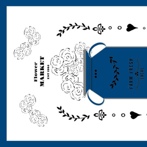 tea towels - flower market jug- blueberry