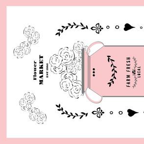 tea towel flower market jug- petal pink