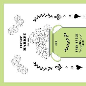 tea towel flower market jug- celery