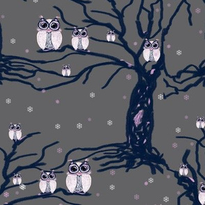 WINTER OWLS FAMILY ON TREES on light grey