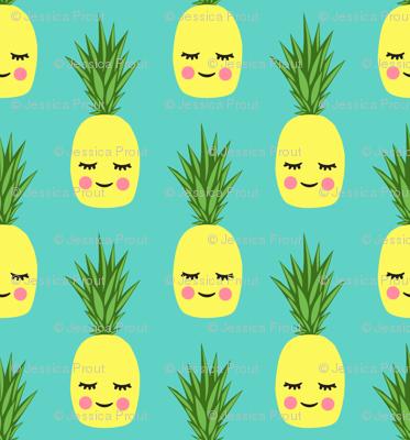 happy pineapples - teal