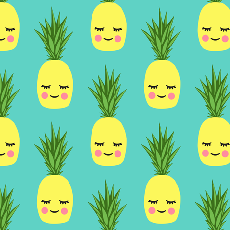 happy pineapples - teal fabric by littlearrowdesign on Spoonflower - custom fabric