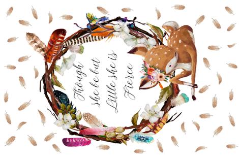 "54""x36"" Boho Baby Deer Fierce Quote fabric by shopcabin on Spoonflower - custom fabric"