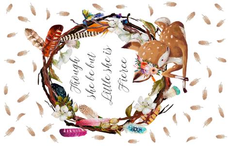 "56""X36"" Boho Baby Deer Fierce Quote fabric by shopcabin on Spoonflower - custom fabric"