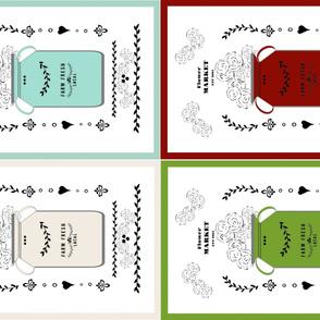 tea towels set of 4 on YARD 54 jug quilt - mint, rustic red, pickle, creamery