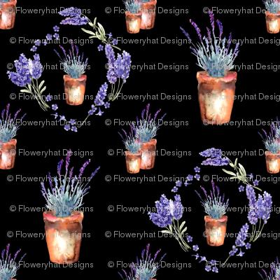 small watercolor lavender garden pots and wreath black