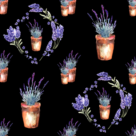 small watercolor lavender garden pots and wreath black fabric by floweryhat on Spoonflower - custom fabric