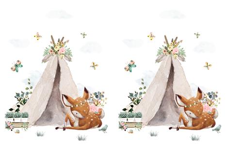 "27""x36"" Botanical Boho Deer  / 2 to 1 Yard of Minky fabric by shopcabin on Spoonflower - custom fabric"