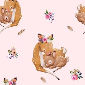 "8"" Boho Mama Deer Love - Pink"