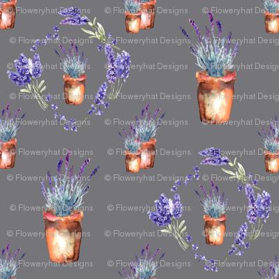 small watercolor lavender garden pots and wreath grey