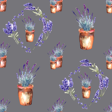 small watercolor lavender garden pots and wreath grey fabric by floweryhat on Spoonflower - custom fabric